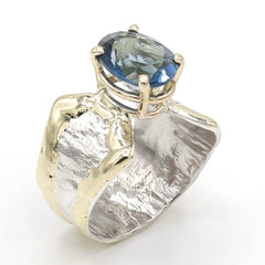 14K Gold & Crystalline Silver London Blue Topaz Ring - 37409-Fusion Designs-Renee Taylor Gallery