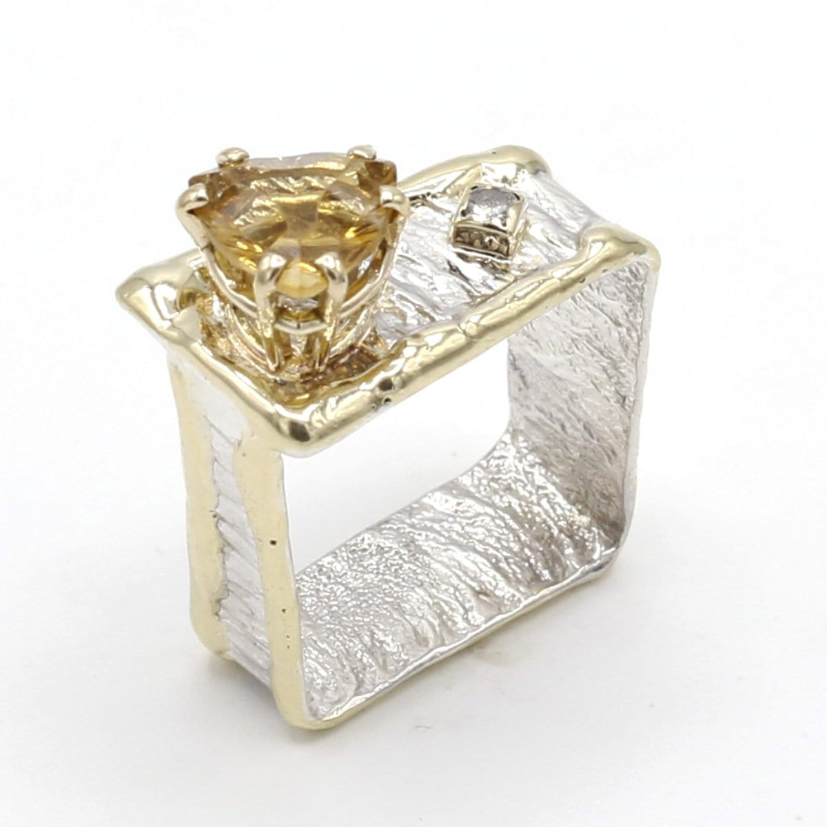 14K Gold & Crystalline Silver Diamond & Citrine Ring - 37410-Fusion Designs-Renee Taylor Gallery