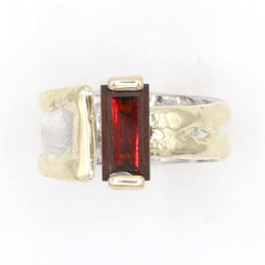 14K Gold & Crystalline Silver Garnet Ring - 37411-Fusion Designs-Renee Taylor Gallery