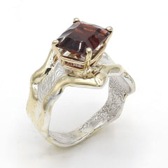 14K Gold & Crystalline Silver Garnet Ring - 37412-Fusion Designs-Renee Taylor Gallery