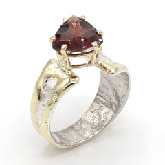 14K Gold & Crystalline Silver Garnet Ring - 37413-Fusion Designs-Renee Taylor Gallery