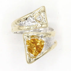 14K Gold & Crystalline Silver Diamond & Citrine Ring - 37414-Fusion Designs-Renee Taylor Gallery