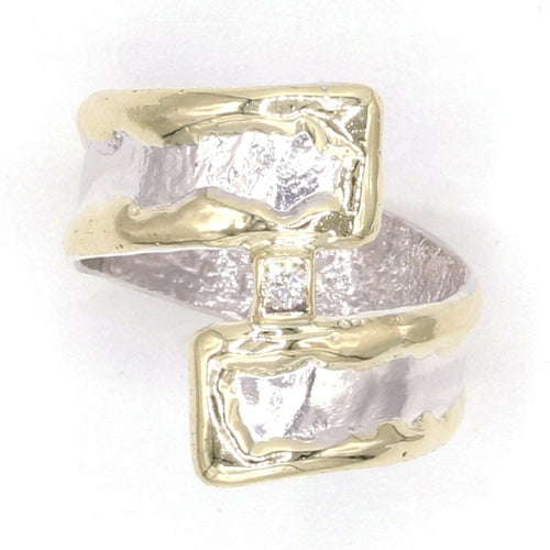 14K Gold & Crystalline Silver Diamond Ring - 37427-Fusion Designs-Renee Taylor Gallery