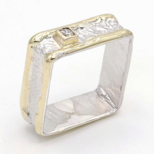 14K Gold & Crystalline Silver Diamond Ring - 37428-Fusion Designs-Renee Taylor Gallery