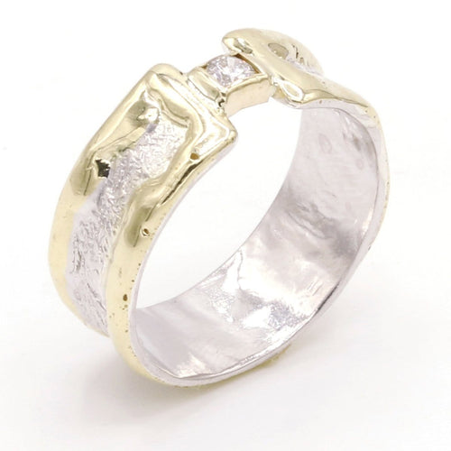 14K Gold & Crystalline Silver Diamond Ring - 37429-Fusion Designs-Renee Taylor Gallery
