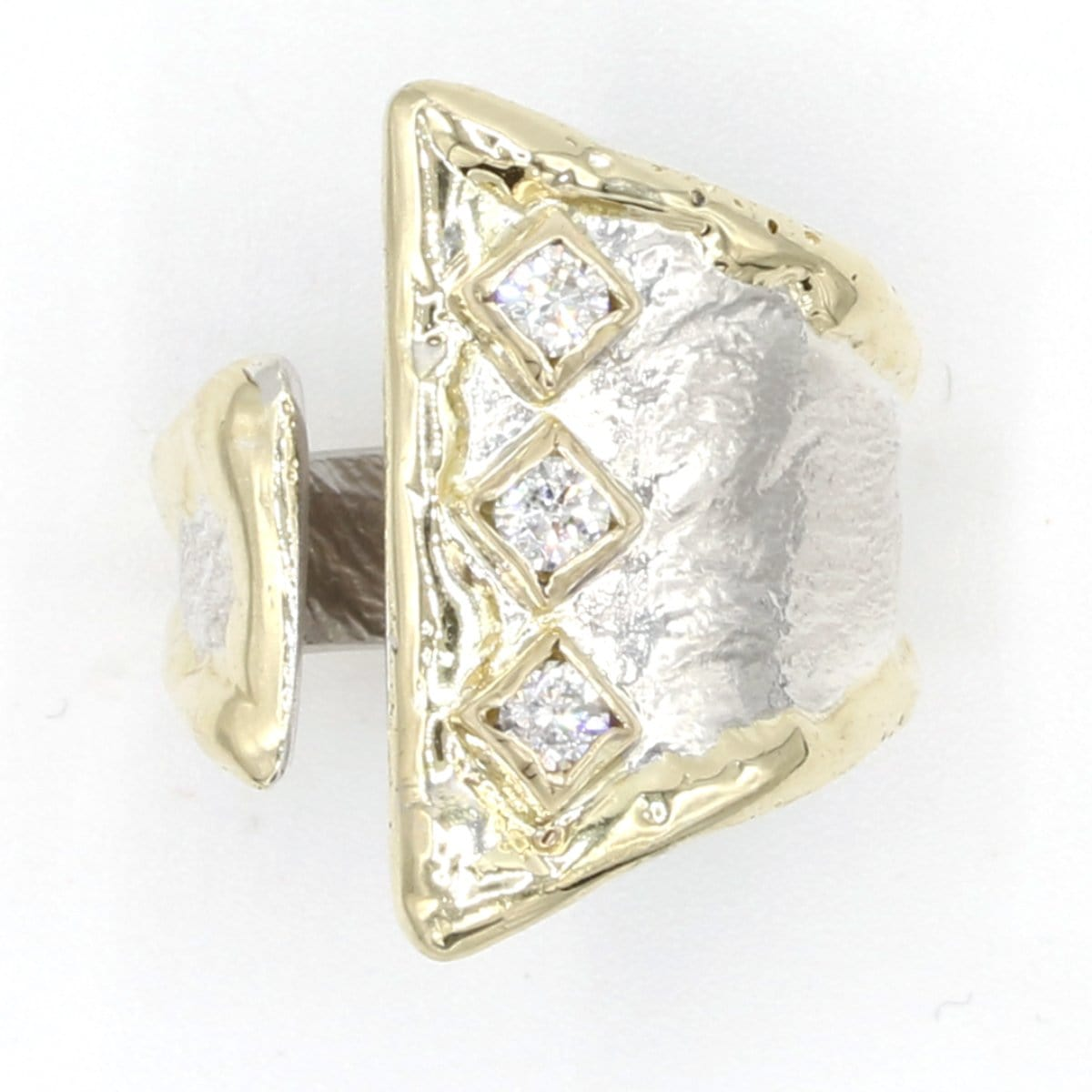 14K Gold & Crystalline Silver Diamond Ring - 37430-Fusion Designs-Renee Taylor Gallery