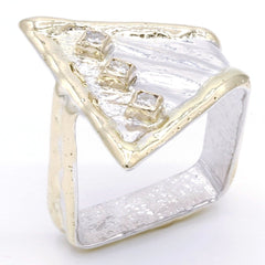 14K Gold & Crystalline Silver Diamond Ring - 37431-Fusion Designs-Renee Taylor Gallery