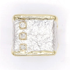 14K Gold & Crystalline Silver Diamond Ring - 37432-Fusion Designs-Renee Taylor Gallery