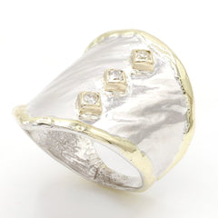 14K Gold & Crystalline Silver Diamond Ring - 37433-Fusion Designs-Renee Taylor Gallery