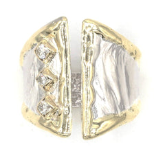 14K Gold & Crystalline Silver Diamond Ring - 37434-Fusion Designs-Renee Taylor Gallery