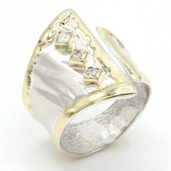 14K Gold & Crystalline Silver Diamond Ring - 37435-Fusion Designs-Renee Taylor Gallery