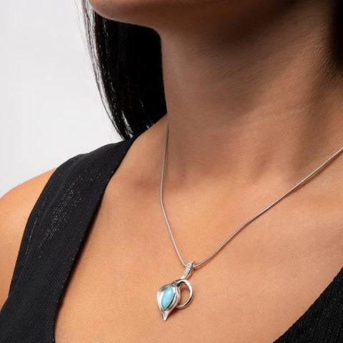 Calla Lily White Sapphire Necklace - Ncall00-00-Marahlago Larimar-Renee Taylor Gallery