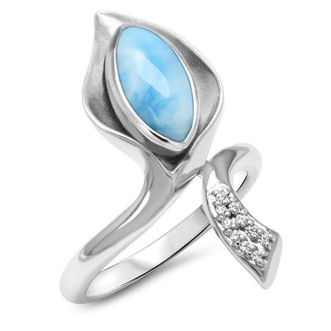 Calla White Sapphire Ring - Rcall00-00-Marahlago Larimar-Renee Taylor Gallery