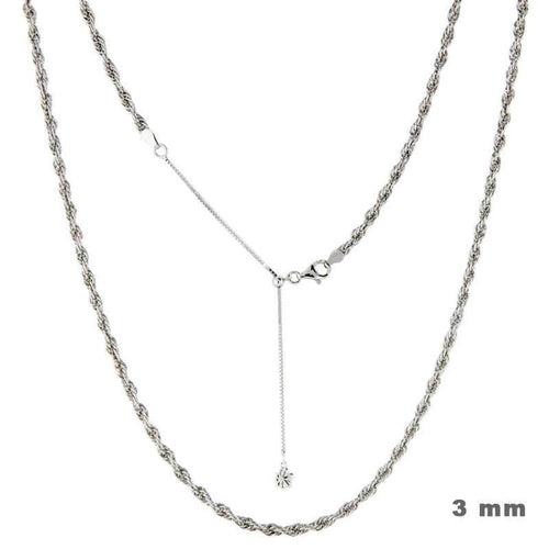 "Sterling Silver 21"" Adjustable 3mm Loose Rope Chain-Renee Taylor Gallery-Renee Taylor Gallery"