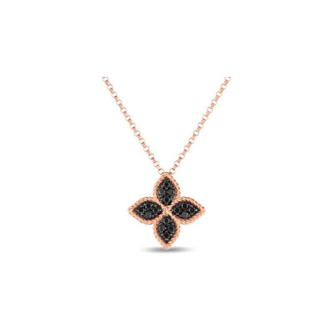 18K Rose Gold & Black Diamond Necklace - 7771918ABCHX-Roberto Coin-Renee Taylor Gallery
