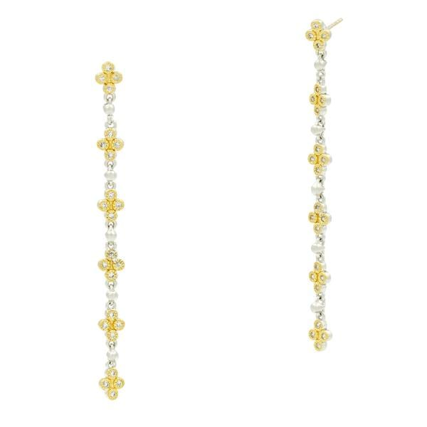 Fleur Bloom Clover Linear Drop Earrings - FBPYZE59-14K-Freida Rothman-Renee Taylor Gallery