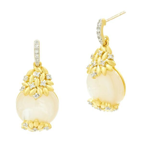 Fleur Bloom Mother Of Pearl Short Drop Earrings - FBPYZEMP41-14K-Freida Rothman-Renee Taylor Gallery