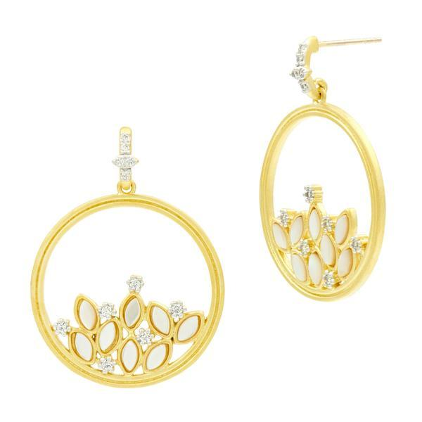 Fleur Bloom MOP Cluster Open Hoop Earrings - FBPYZEMP48-14K-Freida Rothman-Renee Taylor Gallery