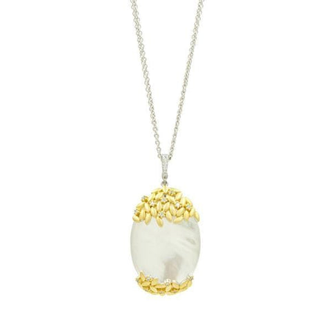 Fleur Bloom Mother Of Pearl Oval Statement Pendant Necklace - FBPYZMPN49-27-Freida Rothman-Renee Taylor Gallery