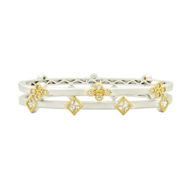Fleur Bloom Clover 2-Stack Set Hinge Bangle - VFPYZB25-H
