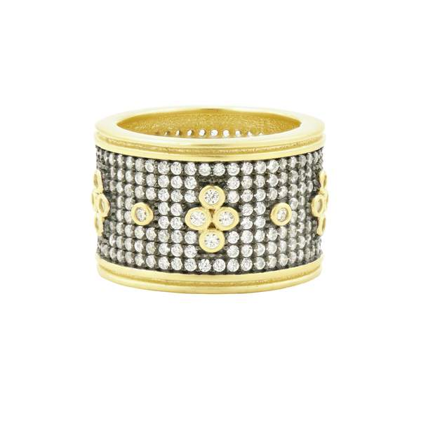Signature Pave Clover Wide Band Ring - YRZR090194B - Freida Rothman