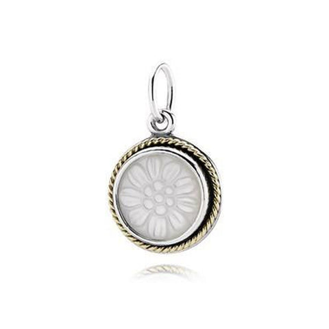 Daisy Signet 14K Gold, Silver & Mother of Pearl Pendant - 390335MOP - Pandora