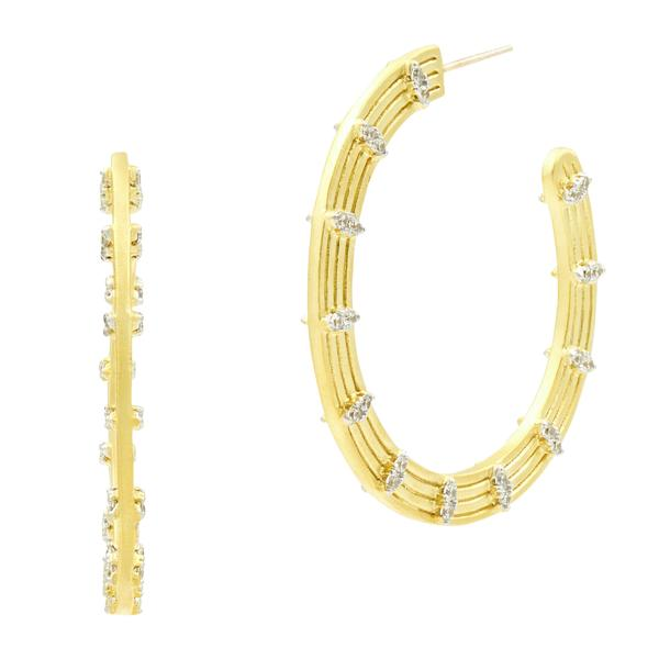Fleur Bloom Empire Wide Hoop Earrings - FBPYZE42-14K-Freida Rothman-Renee Taylor Gallery