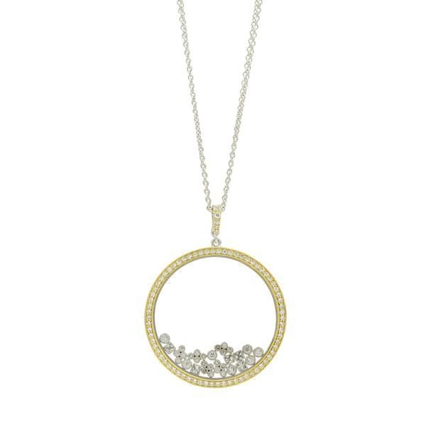Fleur Bloom Open Crystal Glass Frame Pendant Necklace - FBPYZN60-30-Freida Rothman-Renee Taylor Gallery