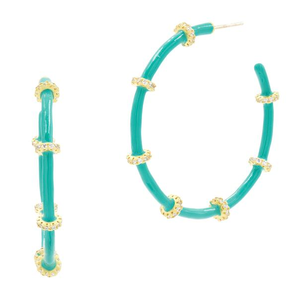 Harmony Turquoise Enamel Hoop Earrings- HAYZTQE13-14K