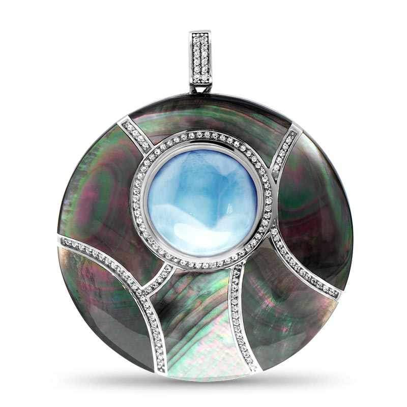 Laguna Black Mother of Pearl Round Large Necklace - Nlagu02-00-Marahlago Larimar-Renee Taylor Gallery