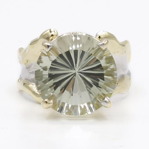 14K Gold & Crystalline Silver Prasiolite Ring - 40329-Fusion Designs-Renee Taylor Gallery