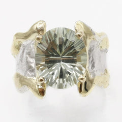 14K Gold & Crystalline Silver Prasiolite Ring - 40330-Fusion Designs-Renee Taylor Gallery