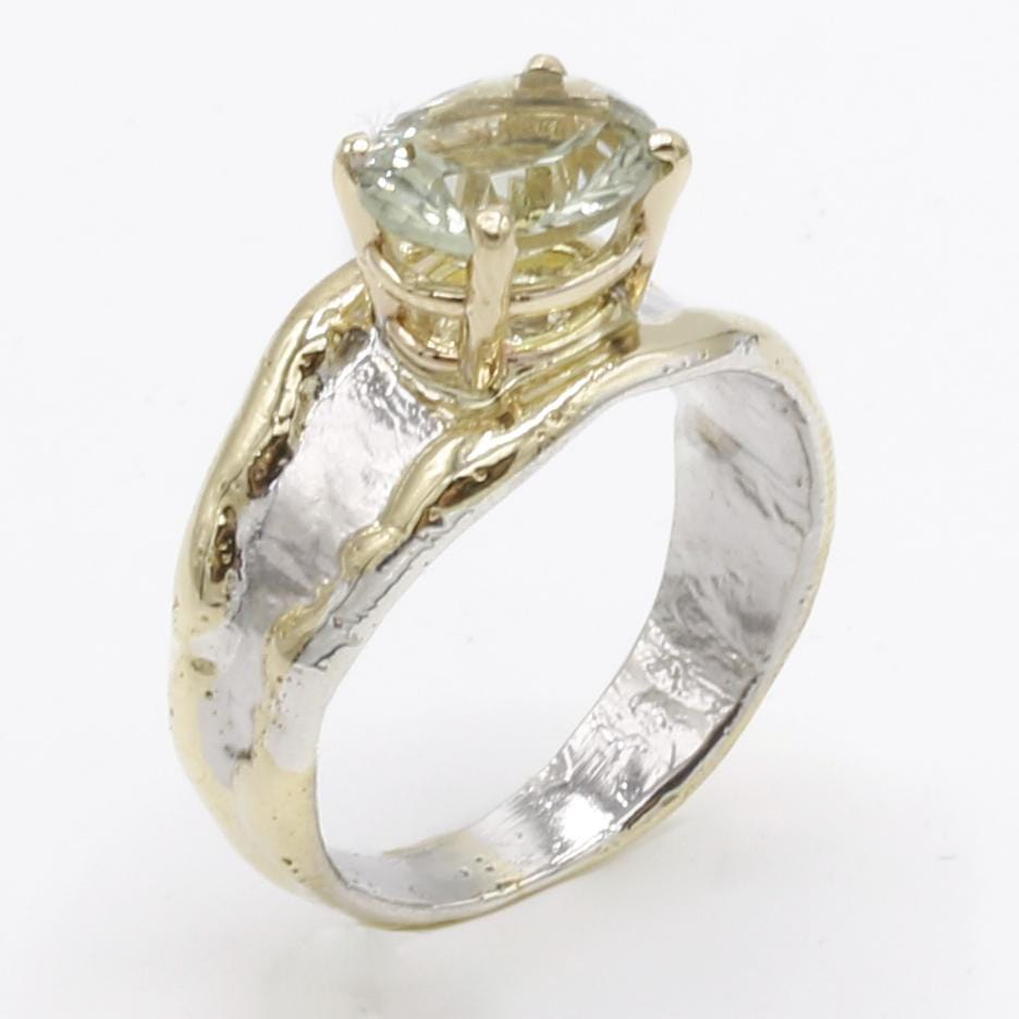 14K Gold & Crystalline Silver Prasiolite Ring - 40332-Fusion Designs-Renee Taylor Gallery