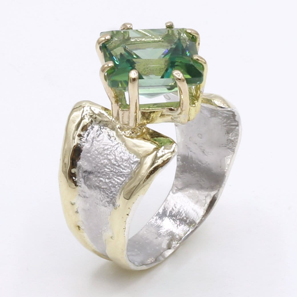 14K Gold & Crystalline Silver Rainforest Green Topaz Ring - 40337