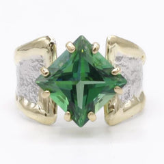 14K Gold & Crystalline Silver Rainforest Green Topaz Ring - 40337-Fusion Designs-Renee Taylor Gallery