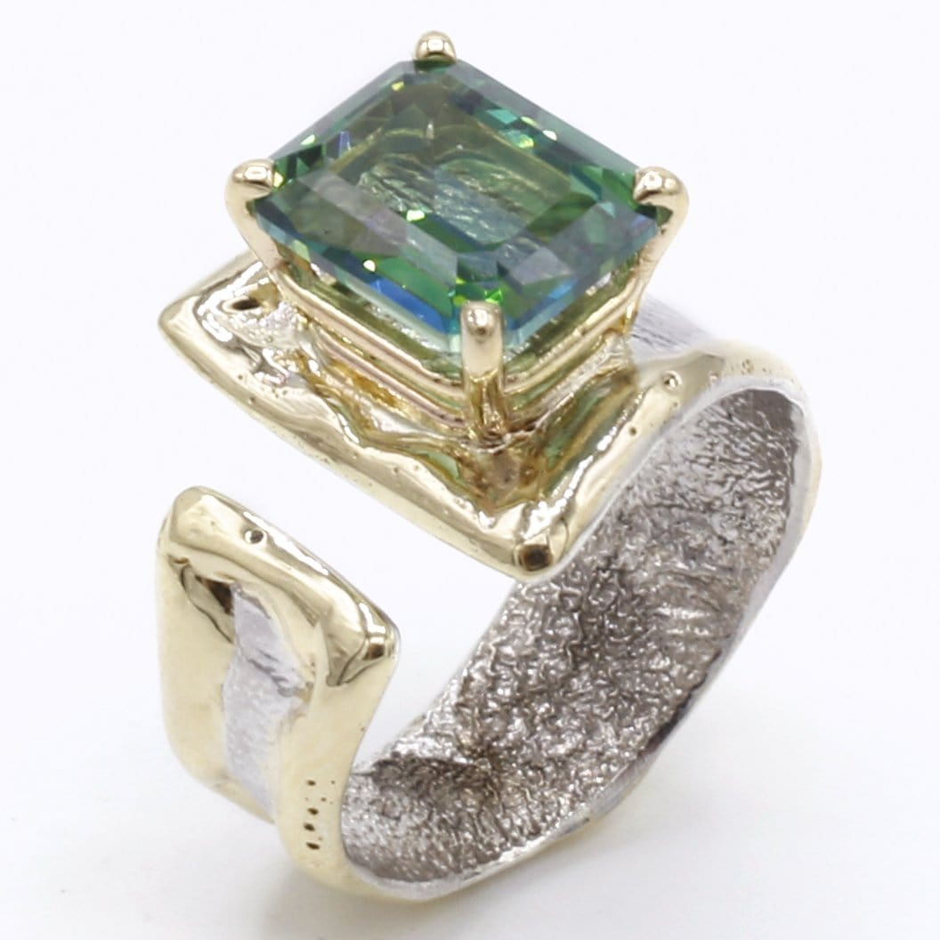 14K Gold & Crystalline Silver Rainforest Green Topaz Ring - 40339-Fusion Designs-Renee Taylor Gallery