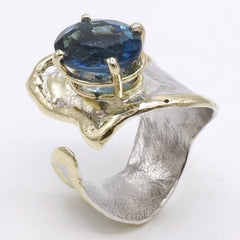 14K Gold & Crystalline Silver London Blue Topaz Ring - 40340-Fusion Designs-Renee Taylor Gallery