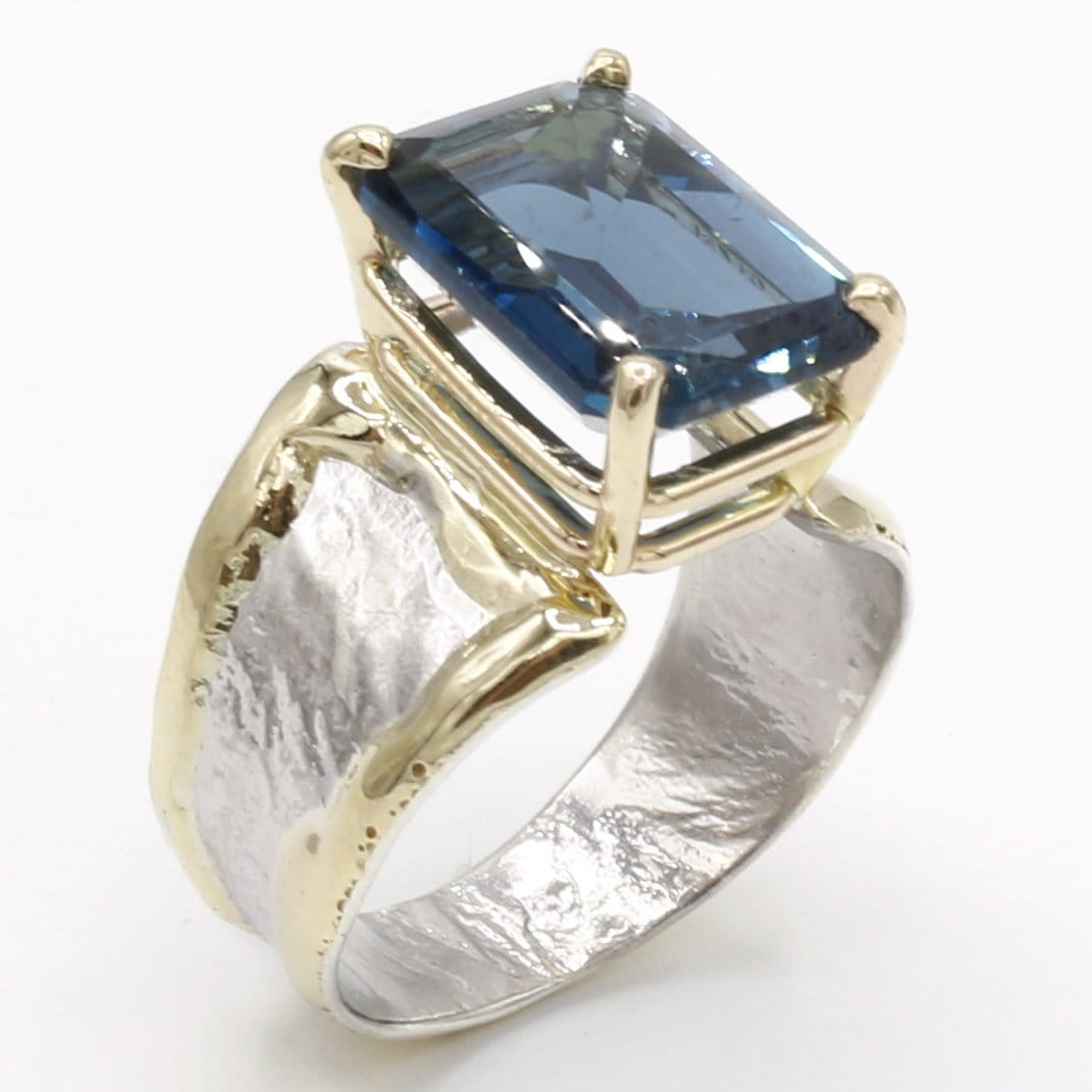 14K Gold & Crystalline Silver London Blue Topaz Ring - 40341-Fusion Designs-Renee Taylor Gallery