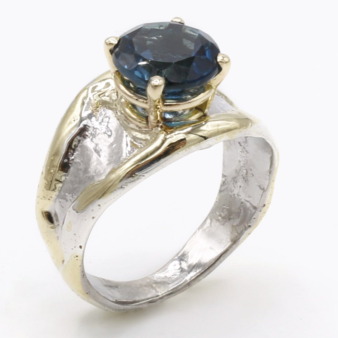 14K Gold & Crystalline Silver London Blue Topaz Ring - 40343-Fusion Designs-Renee Taylor Gallery