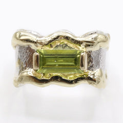 14K Gold & Crystalline Silver Peridot Ring - 40347-Fusion Designs-Renee Taylor Gallery