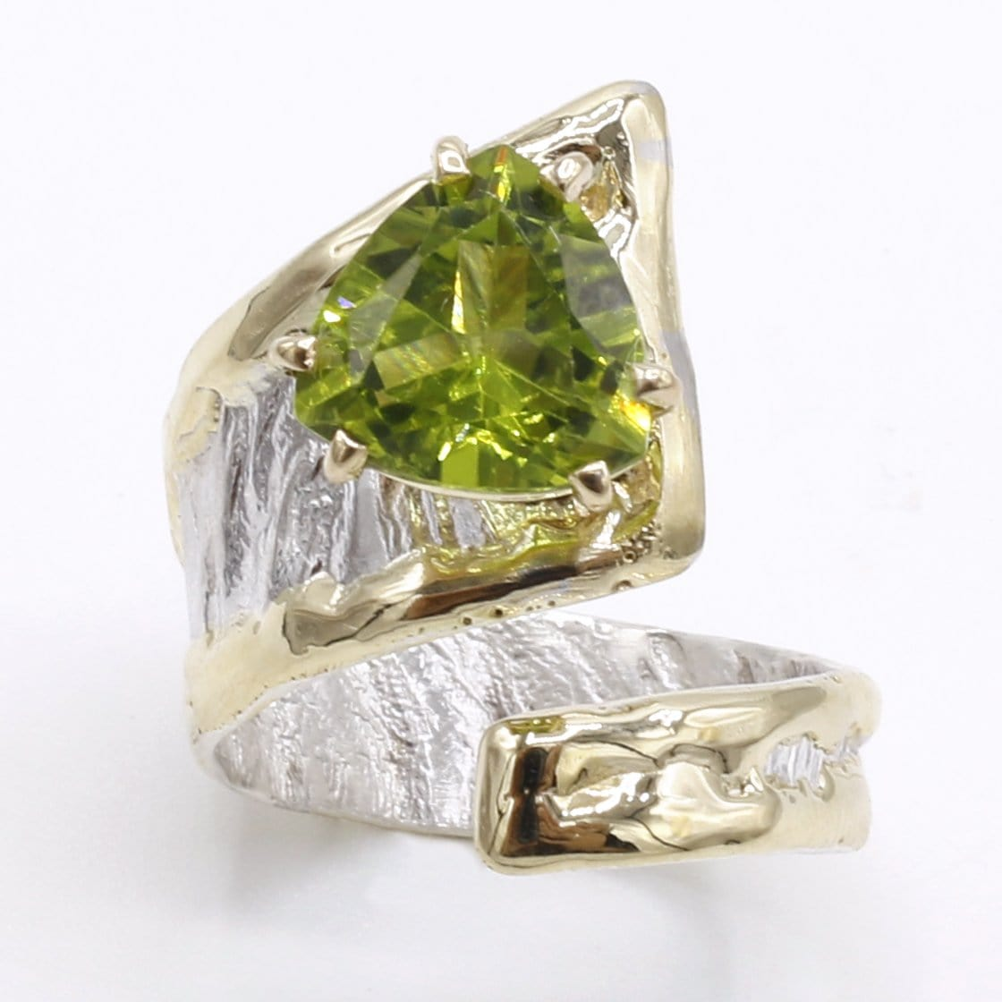 14K Gold & Crystalline Silver Peridot Ring - 40348-Fusion Designs-Renee Taylor Gallery