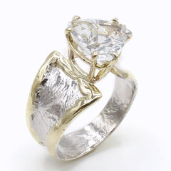 14K Gold & Crystalline Silver White Topaz Ring - 40350-Fusion Designs-Renee Taylor Gallery