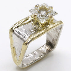 14K Gold & Crystalline Silver White Topaz Ring - 40354-Fusion Designs-Renee Taylor Gallery