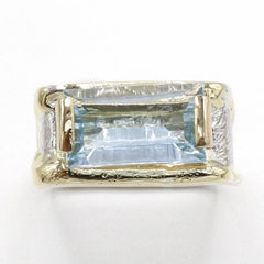 14K Gold & Crystalline Silver Sky Blue Topaz Ring - 40357-Fusion Designs-Renee Taylor Gallery
