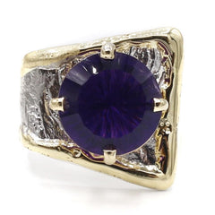 14K Gold & Crystalline Silver Amethyst Ring - 40359-Fusion Designs-Renee Taylor Gallery
