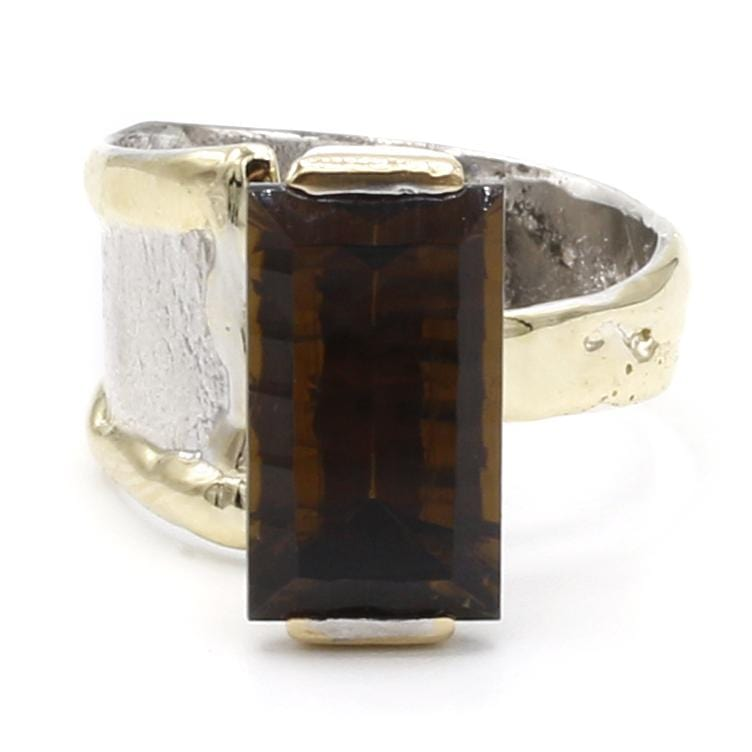 14K Gold & Crystalline Silver Cognac Quartz Ring - 40361-Fusion Designs-Renee Taylor Gallery