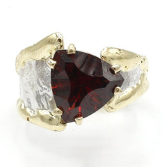 14K Gold & Crystalline Silver Garnet Ring - 40362-Fusion Designs-Renee Taylor Gallery