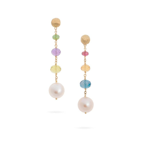 18K Africa Gemstone Pearl Drop Earrings - OB1685-PL-MIX02-Marco Bicego-Renee Taylor Gallery