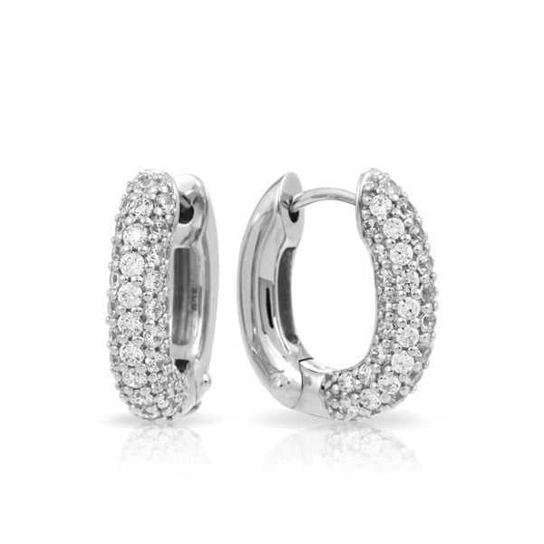 Pave Hoops Silver Earring