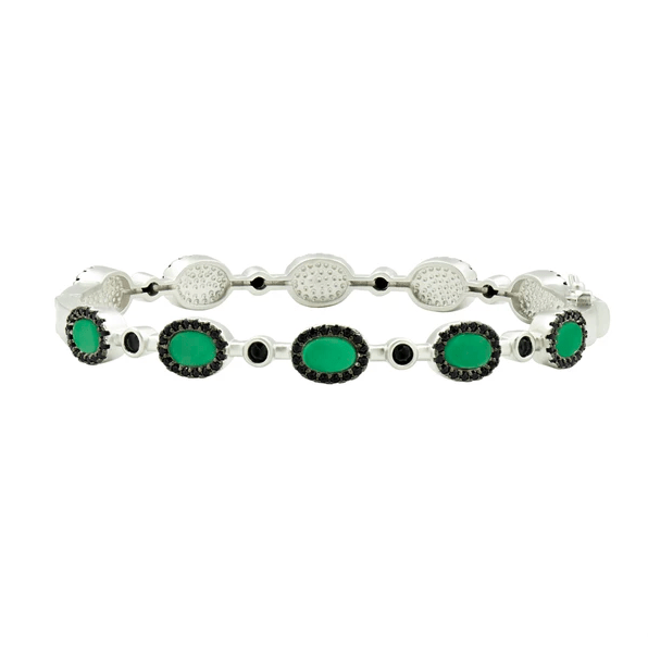 Industrial Finish Green Agate Hinge Bangle - IFPKMB46-1-H